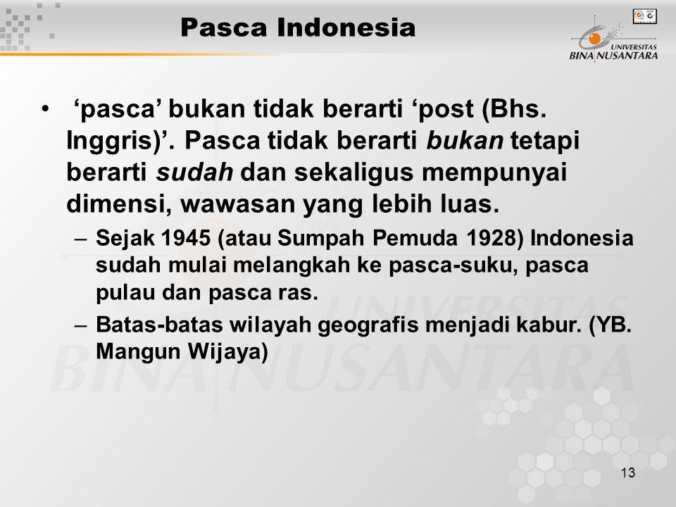13 Pasca Indonesia 'pasca' bukan tidak berarti 'post (Bhs. Inggris)'. Pasca tidak berarti bukan tetapi berarti sudah dan sekaligus mempunyai dimensi,
