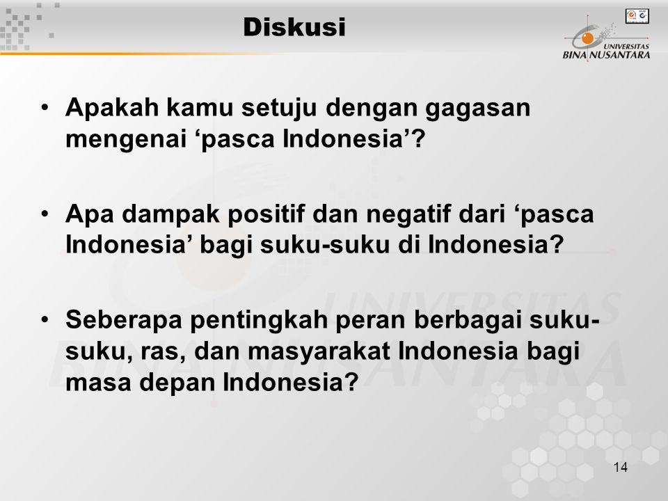 14 Diskusi Apakah kamu setuju dengan gagasan mengenai 'pasca Indonesia'? Apa dampak positif dan negatif dari 'pasca Indonesia' bagi suku-suku di Indon
