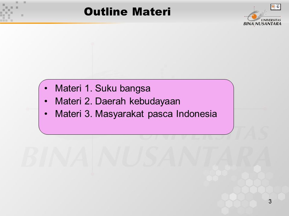 3 Outline Materi Materi 1.Suku bangsa Materi 2. Daerah kebudayaan Materi 3.