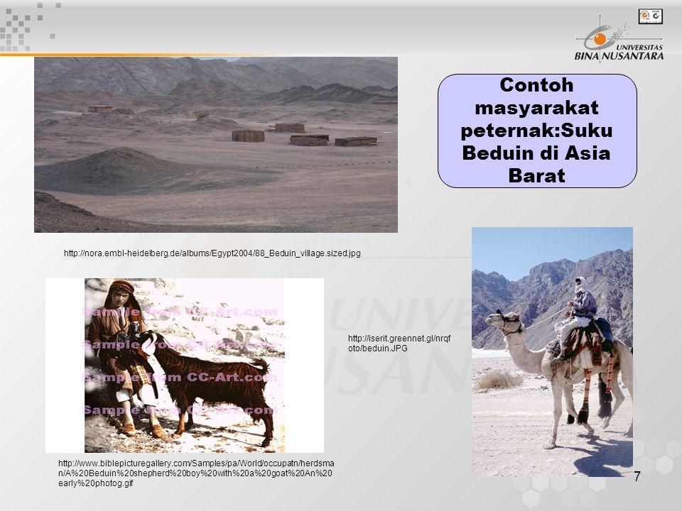 7 Contoh masyarakat peternak:Suku Beduin di Asia Barat http://iserit.greennet.gl/nrqf oto/beduin.JPG http://www.biblepicturegallery.com/Samples/pa/Wor