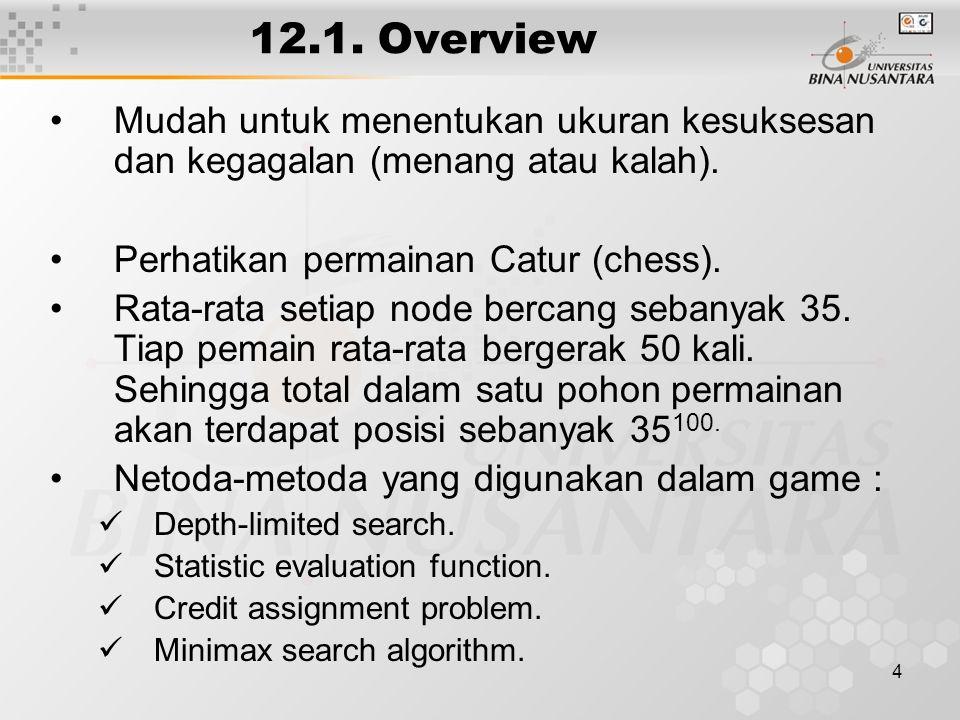 4 12.1. Overview Mudah untuk menentukan ukuran kesuksesan dan kegagalan (menang atau kalah).