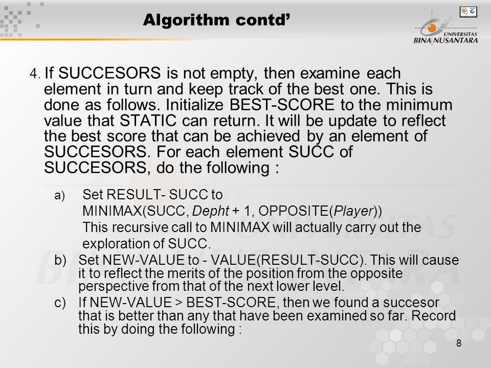 8 Algorithm contd' 4.