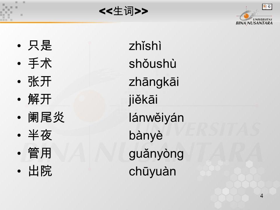 4 > 只是 zhǐshì 手术 shǒushù 张开 zhāngkāi 解开 jiěkāi 阑尾炎 lánwěiyán 半夜 bànyè 管用 guǎnyòng 出院 chūyuàn