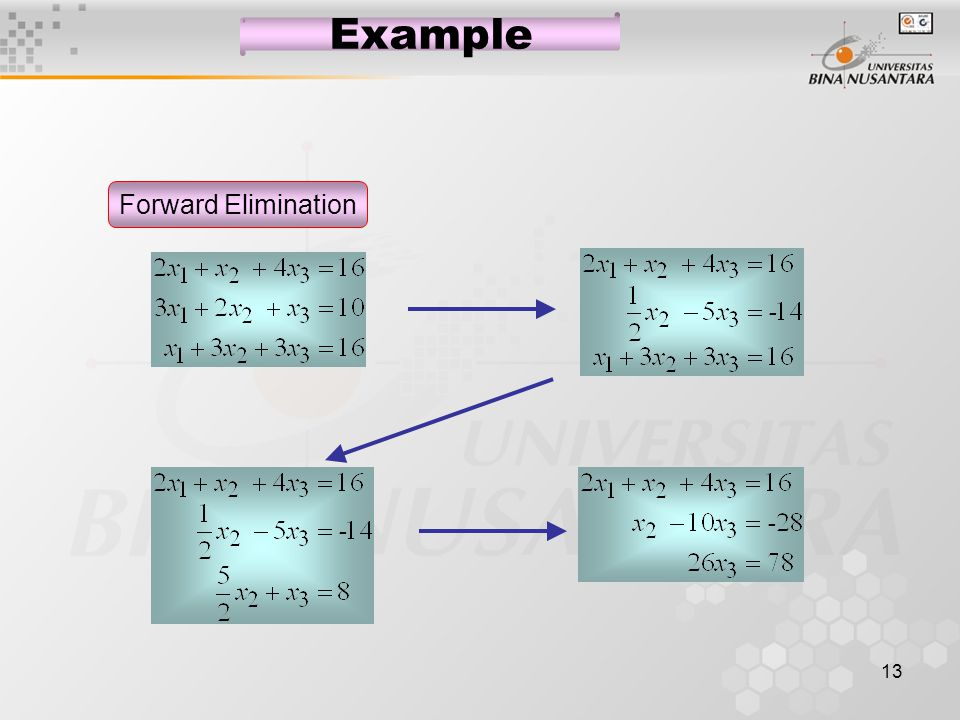 13 Example Forward Elimination