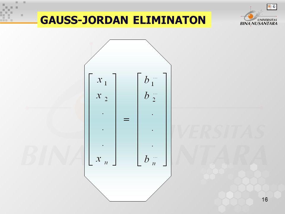 16 GAUSS-JORDAN ELIMINATON