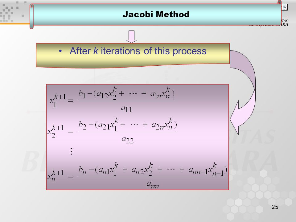 25 Jacobi Method After k iterations of this process