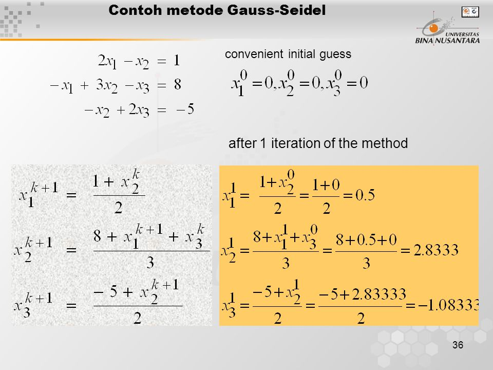 36 Contoh metode Gauss-Seidel after 1 iteration of the method convenient initial guess