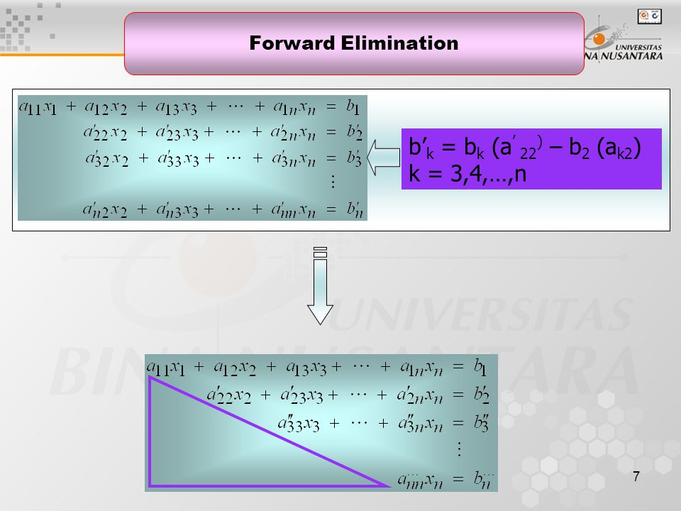 7 Forward Elimination b' k = b k (a ' 22 ) – b 2 (a k2 ) k = 3,4,…,n