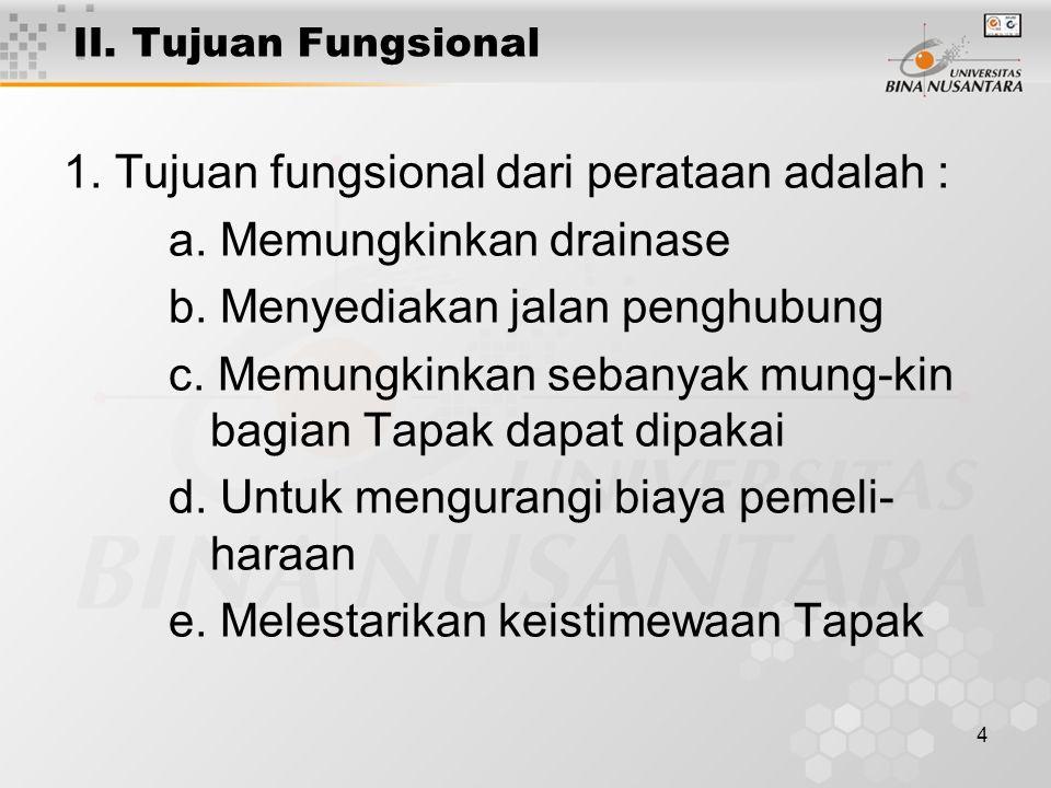 4 II. Tujuan Fungsional 1. Tujuan fungsional dari perataan adalah : a.