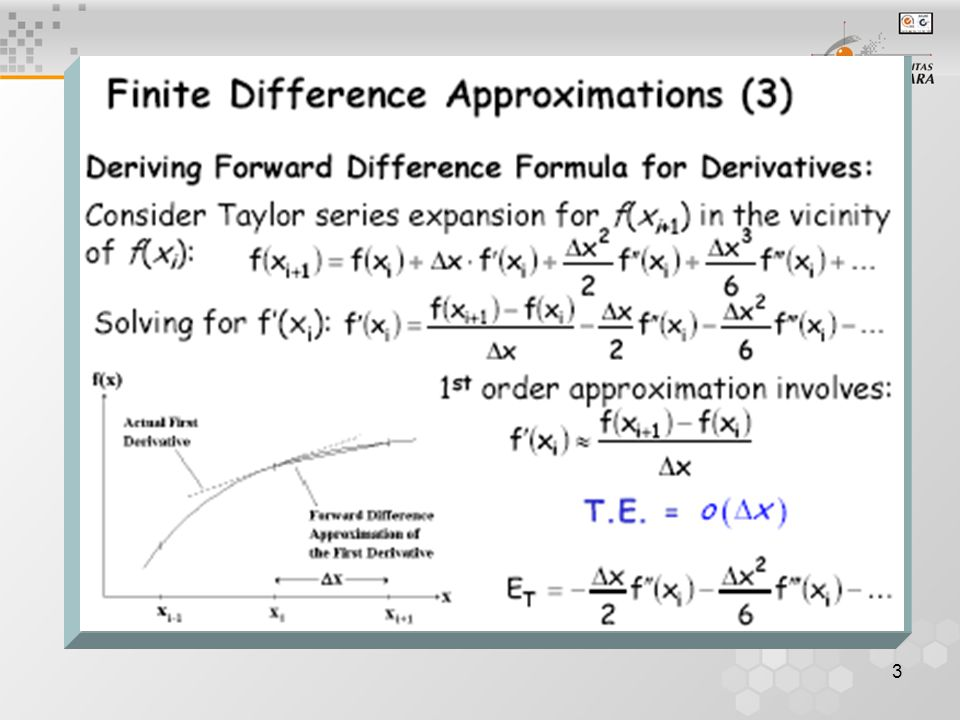 4 Finite Difference Approximations Given a smooth fnc Consider Taylor expansion Forward difference formula (1st order accurate!)