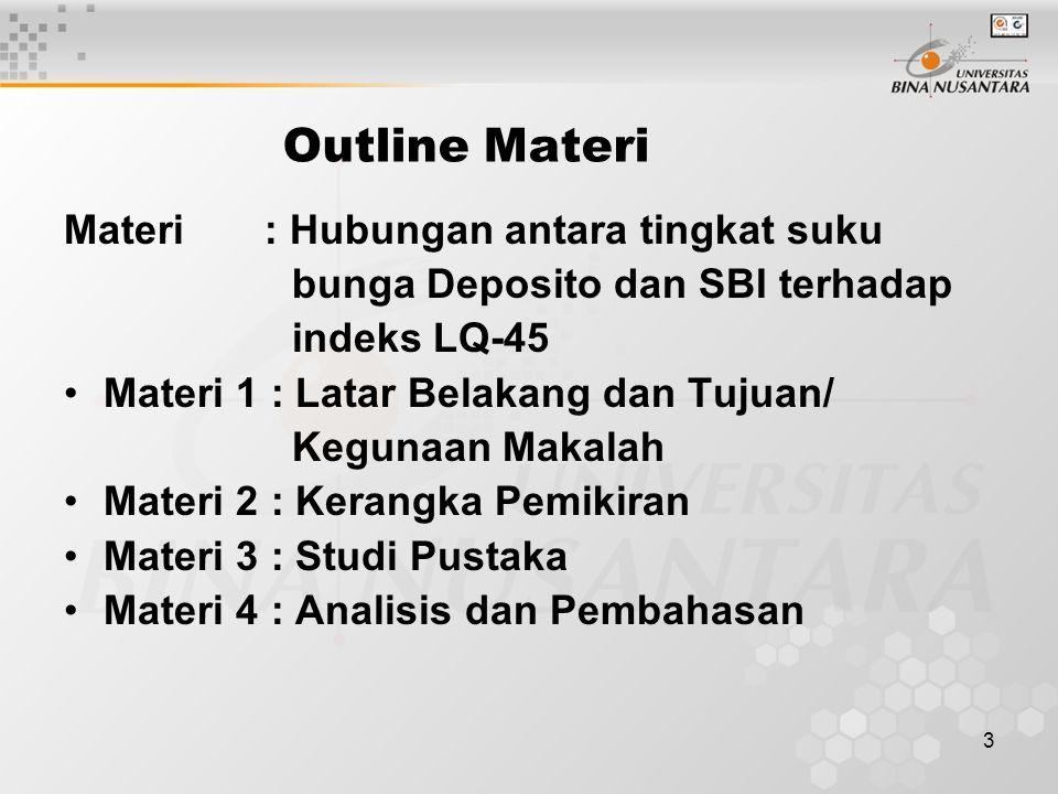 3 Outline Materi Materi : Hubungan antara tingkat suku bunga Deposito dan SBI terhadap indeks LQ-45 Materi 1 : Latar Belakang dan Tujuan/ Kegunaan Makalah Materi 2 : Kerangka Pemikiran Materi 3 : Studi Pustaka Materi 4 : Analisis dan Pembahasan