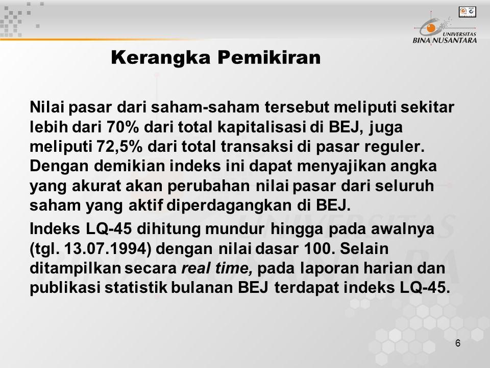 6 Kerangka Pemikiran Nilai pasar dari saham-saham tersebut meliputi sekitar lebih dari 70% dari total kapitalisasi di BEJ, juga meliputi 72,5% dari total transaksi di pasar reguler.