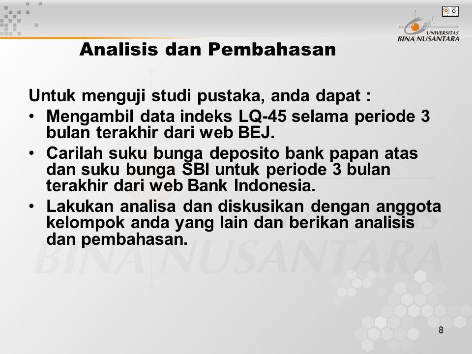 8 Analisis dan Pembahasan Untuk menguji studi pustaka, anda dapat : Mengambil data indeks LQ-45 selama periode 3 bulan terakhir dari web BEJ.
