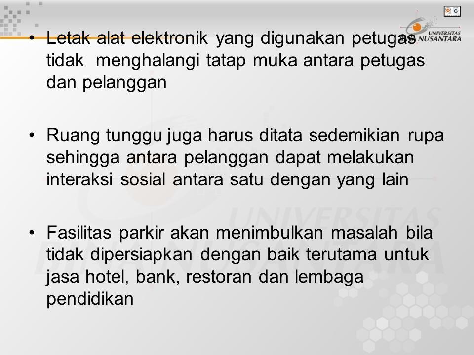 Letak alat elektronik yang digunakan petugas tidak menghalangi tatap muka antara petugas dan pelanggan Ruang tunggu juga harus ditata sedemikian rupa