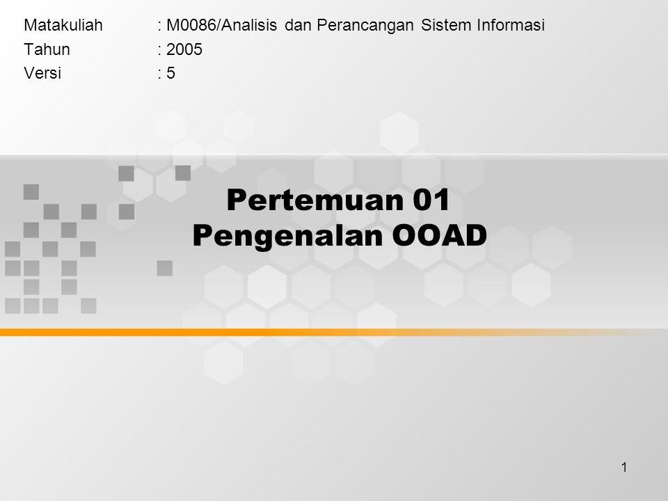 1 Pertemuan 01 Pengenalan OOAD Matakuliah: M0086/Analisis dan Perancangan Sistem Informasi Tahun: 2005 Versi: 5