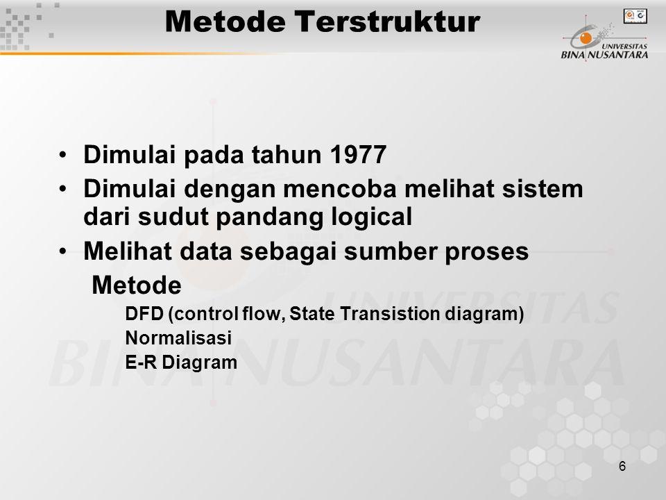 6 Metode Terstruktur Dimulai pada tahun 1977 Dimulai dengan mencoba melihat sistem dari sudut pandang logical Melihat data sebagai sumber proses Metod