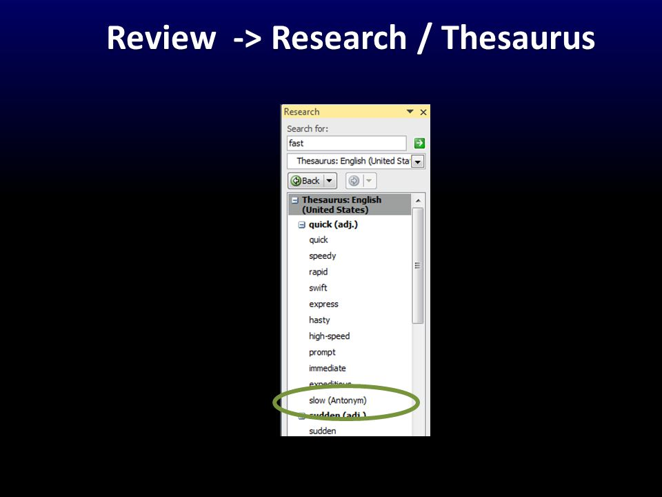 Review -> Research / Thesaurus