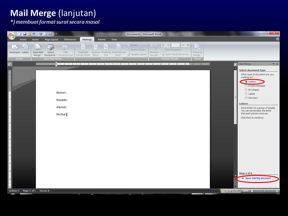 Section (lanjutan) *) memisahkan tiap halaman di dokumen