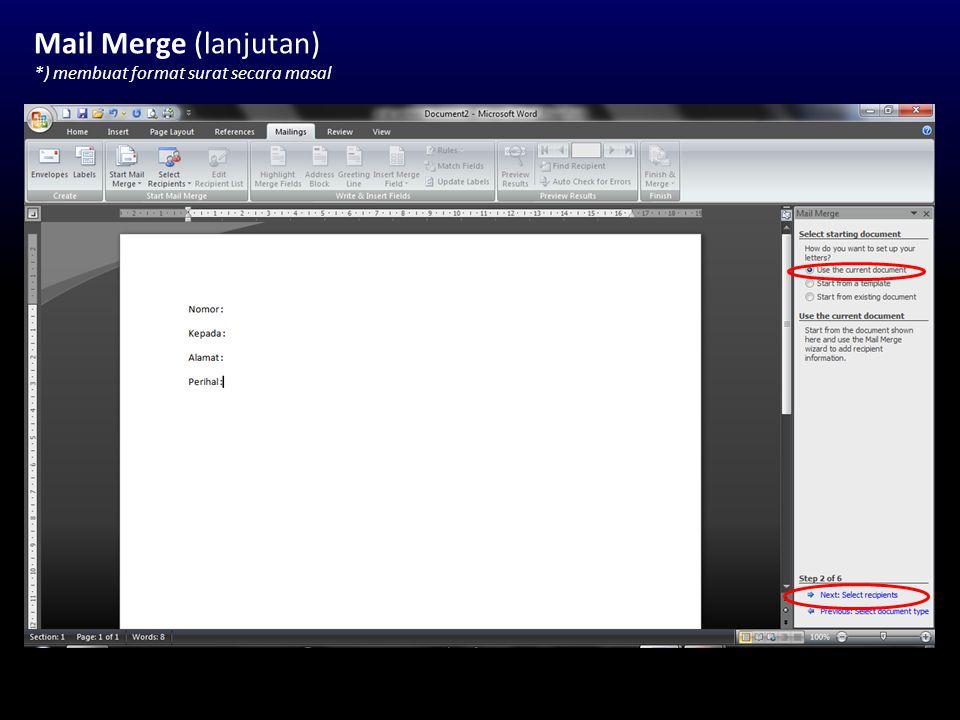Equation Editor *) membuat lambang eksakta Klik menu Insert -> Equation -> Insert New Equation