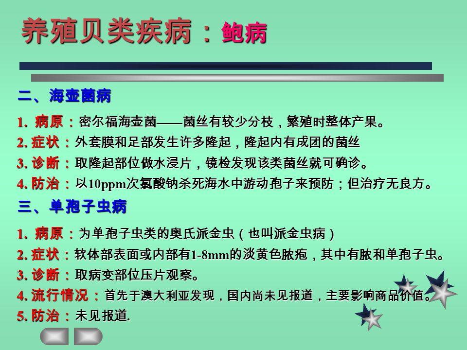 二、海壶菌病 1. 病原: 密尔福海壶菌 —— 菌丝有较少分枝,繁殖时整体产果。 2. 症状: 外套膜和足部发生许多隆起,隆起内有成团的菌丝 3.