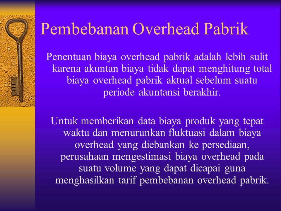 Pembebanan Overhead Pabrik Penentuan biaya overhead pabrik adalah lebih sulit karena akuntan biaya tidak dapat menghitung total biaya overhead pabrik