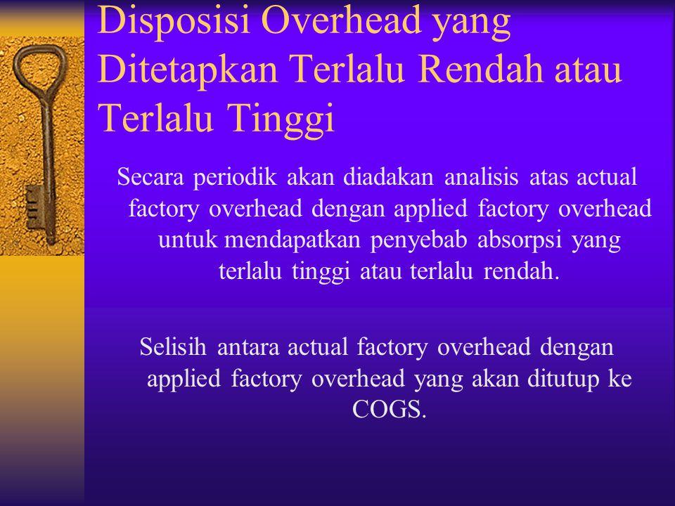 Disposisi Overhead yang Ditetapkan Terlalu Rendah atau Terlalu Tinggi Secara periodik akan diadakan analisis atas actual factory overhead dengan appli