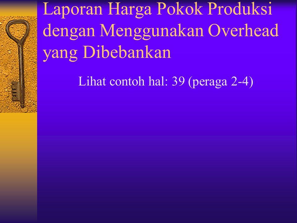 Laporan Harga Pokok Produksi dengan Menggunakan Overhead yang Dibebankan Lihat contoh hal: 39 (peraga 2-4)