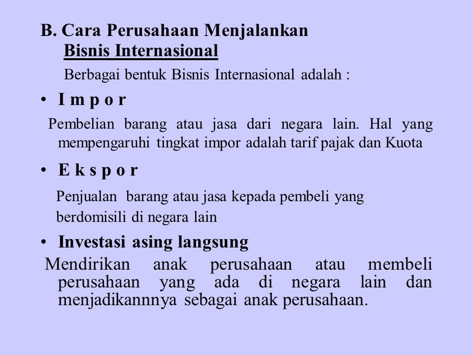 B. Cara Perusahaan Menjalankan Bisnis Internasional Berbagai bentuk Bisnis Internasional adalah : I m p o r Pembelian barang atau jasa dari negara lai