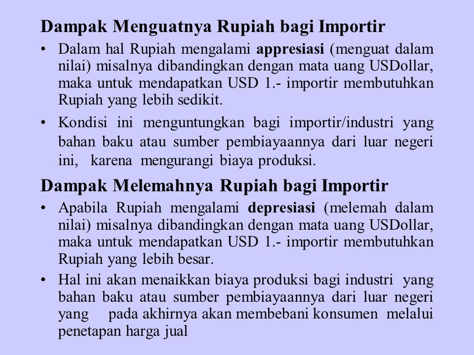 Dampak Menguatnya Rupiah bagi Importir Dalam hal Rupiah mengalami appresiasi (menguat dalam nilai) misalnya dibandingkan dengan mata uang USDollar, ma