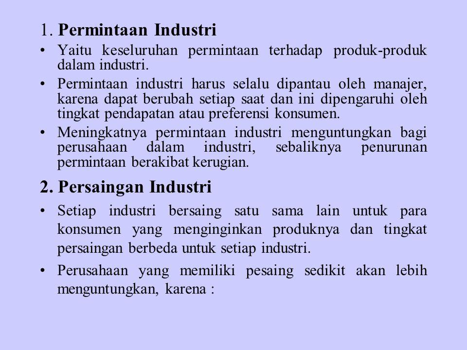 1. Permintaan Industri Yaitu keseluruhan permintaan terhadap produk-produk dalam industri. Permintaan industri harus selalu dipantau oleh manajer, kar