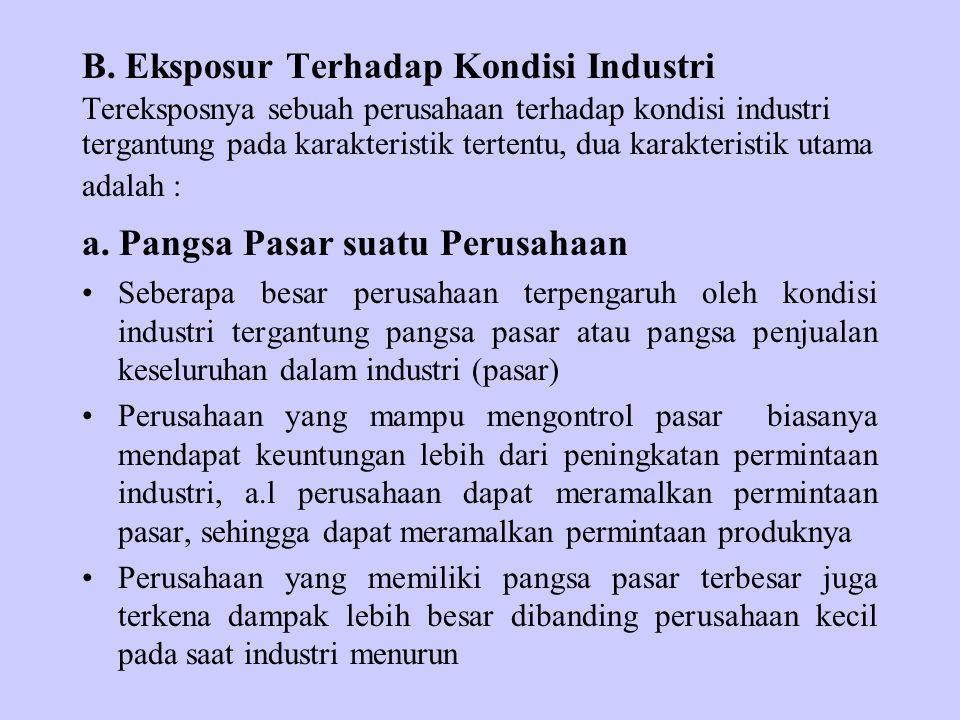 B. Eksposur Terhadap Kondisi Industri Tereksposnya sebuah perusahaan terhadap kondisi industri tergantung pada karakteristik tertentu, dua karakterist