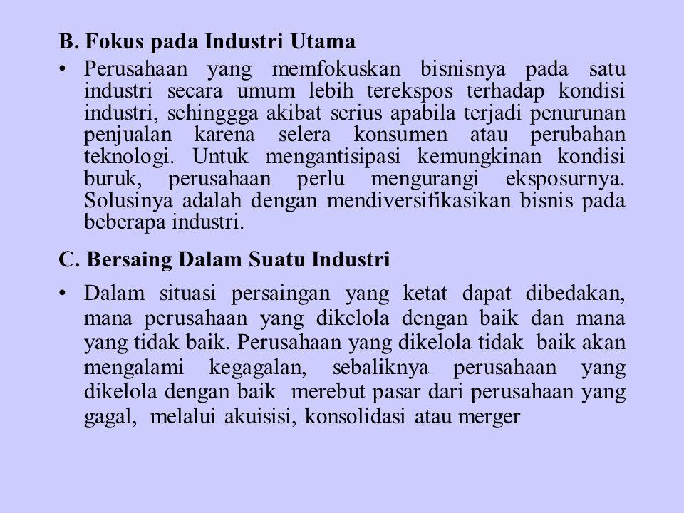 B. Fokus pada Industri Utama Perusahaan yang memfokuskan bisnisnya pada satu industri secara umum lebih terekspos terhadap kondisi industri, sehinggga