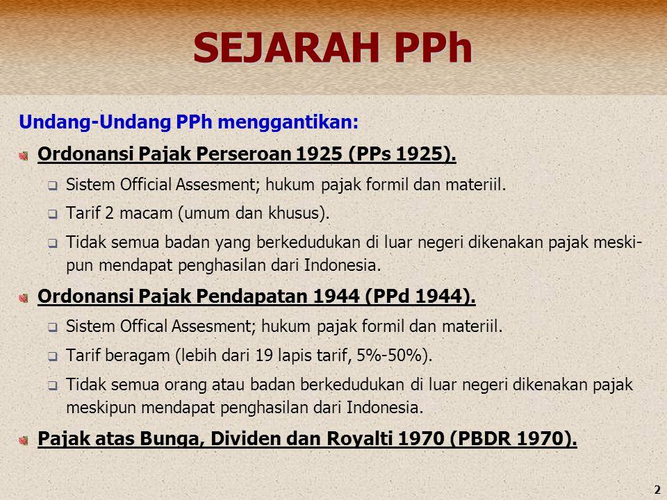 2 SEJARAH PPh Undang-Undang PPh menggantikan: Ordonansi Pajak Perseroan 1925 (PPs 1925).  Sistem Official Assesment; hukum pajak formil dan materiil.