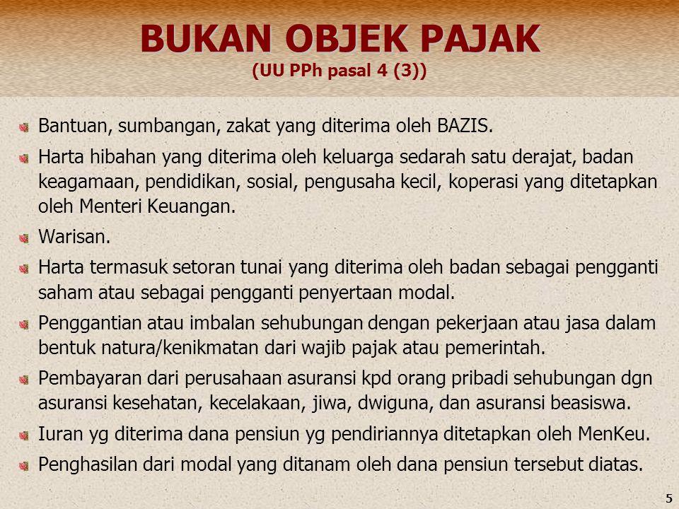 5 BUKAN OBJEK PAJAK BUKAN OBJEK PAJAK (UU PPh pasal 4 (3)) Bantuan, sumbangan, zakat yang diterima oleh BAZIS. Harta hibahan yang diterima oleh keluar