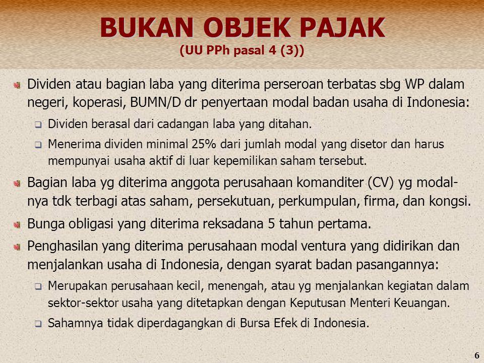6 BUKAN OBJEK PAJAK BUKAN OBJEK PAJAK (UU PPh pasal 4 (3)) Dividen atau bagian laba yang diterima perseroan terbatas sbg WP dalam negeri, koperasi, BU
