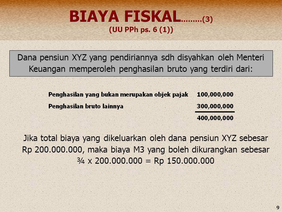 9 Dana pensiun XYZ yang pendiriannya sdh disyahkan oleh Menteri Keuangan memperoleh penghasilan bruto yang terdiri dari: BIAYA FISKAL BIAYA FISKAL ………