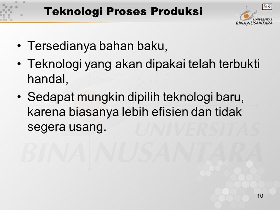 10 Teknologi Proses Produksi Tersedianya bahan baku, Teknologi yang akan dipakai telah terbukti handal, Sedapat mungkin dipilih teknologi baru, karena biasanya lebih efisien dan tidak segera usang.
