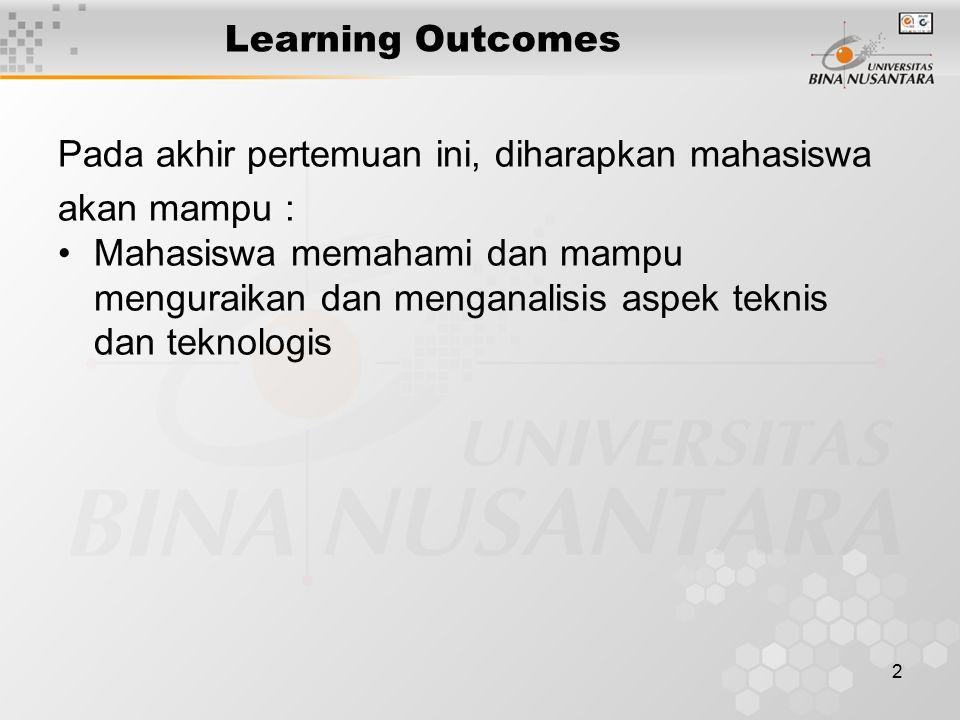 2 Learning Outcomes Pada akhir pertemuan ini, diharapkan mahasiswa akan mampu : Mahasiswa memahami dan mampu menguraikan dan menganalisis aspek teknis dan teknologis
