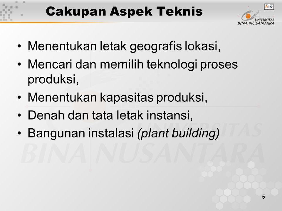 5 Cakupan Aspek Teknis Menentukan letak geografis lokasi, Mencari dan memilih teknologi proses produksi, Menentukan kapasitas produksi, Denah dan tata letak instansi, Bangunan instalasi (plant building)