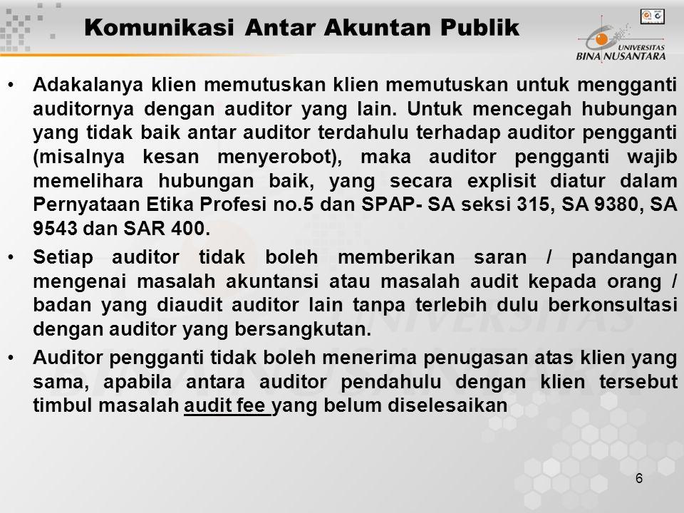 6 Komunikasi Antar Akuntan Publik Adakalanya klien memutuskan klien memutuskan untuk mengganti auditornya dengan auditor yang lain.