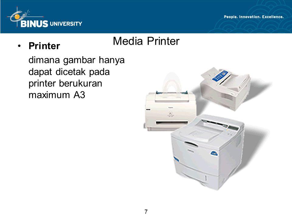7 Media Printer Printer dimana gambar hanya dapat dicetak pada printer berukuran maximum A3