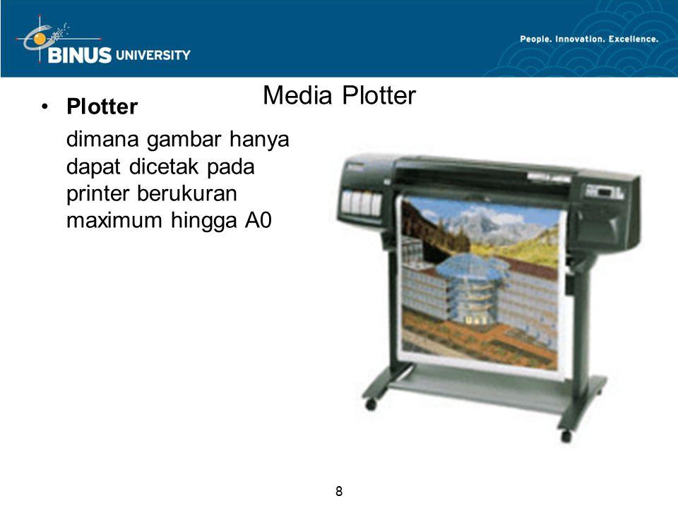 8 Media Plotter Plotter dimana gambar hanya dapat dicetak pada printer berukuran maximum hingga A0