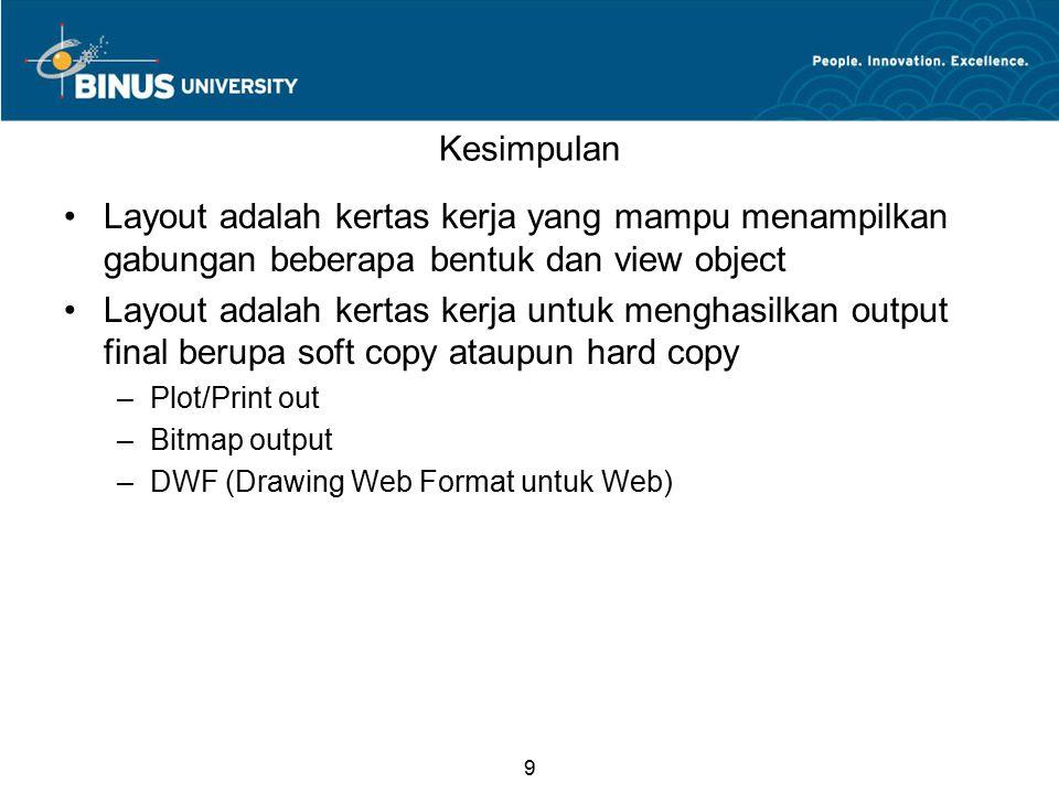 9 Kesimpulan Layout adalah kertas kerja yang mampu menampilkan gabungan beberapa bentuk dan view object Layout adalah kertas kerja untuk menghasilkan