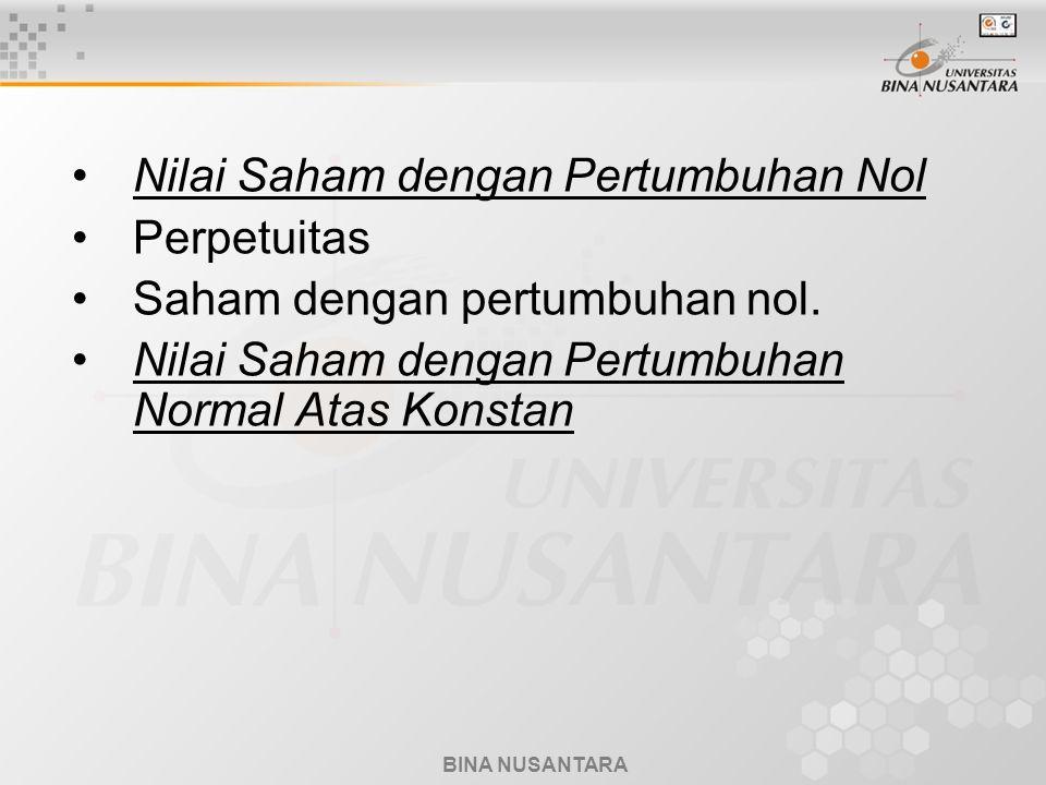 BINA NUSANTARA Nilai Saham dengan Pertumbuhan Nol Perpetuitas Saham dengan pertumbuhan nol.