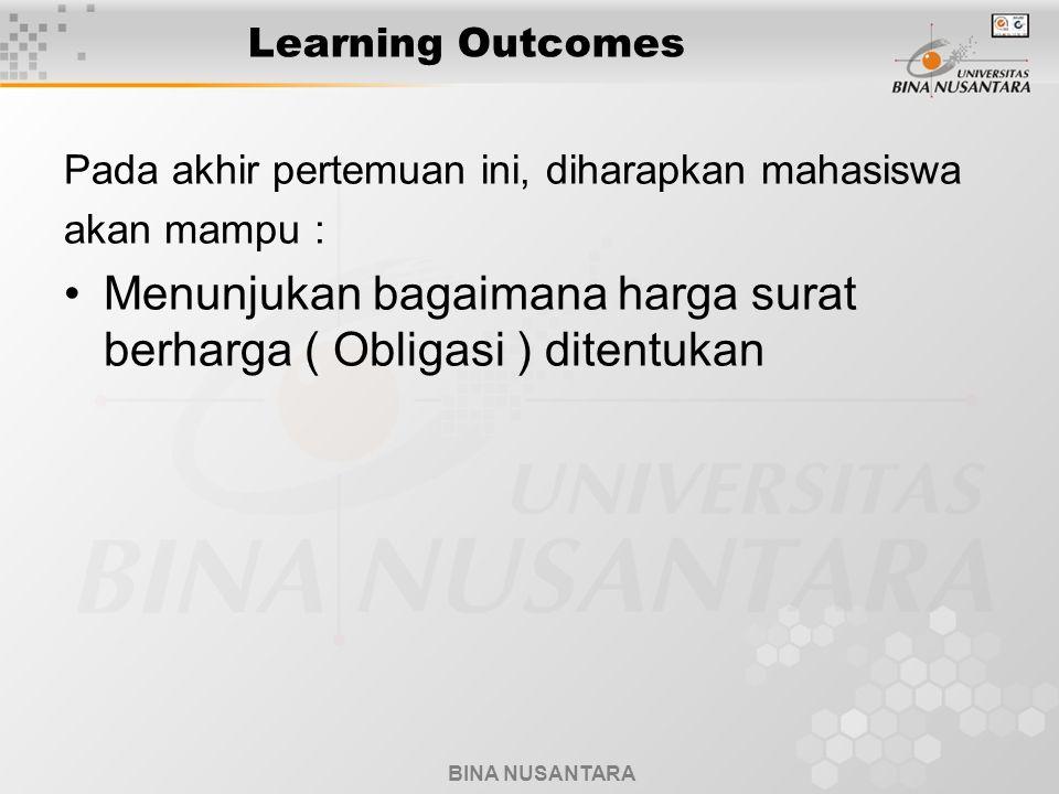 BINA NUSANTARA Learning Outcomes Pada akhir pertemuan ini, diharapkan mahasiswa akan mampu : Menunjukan bagaimana harga surat berharga ( Obligasi ) di