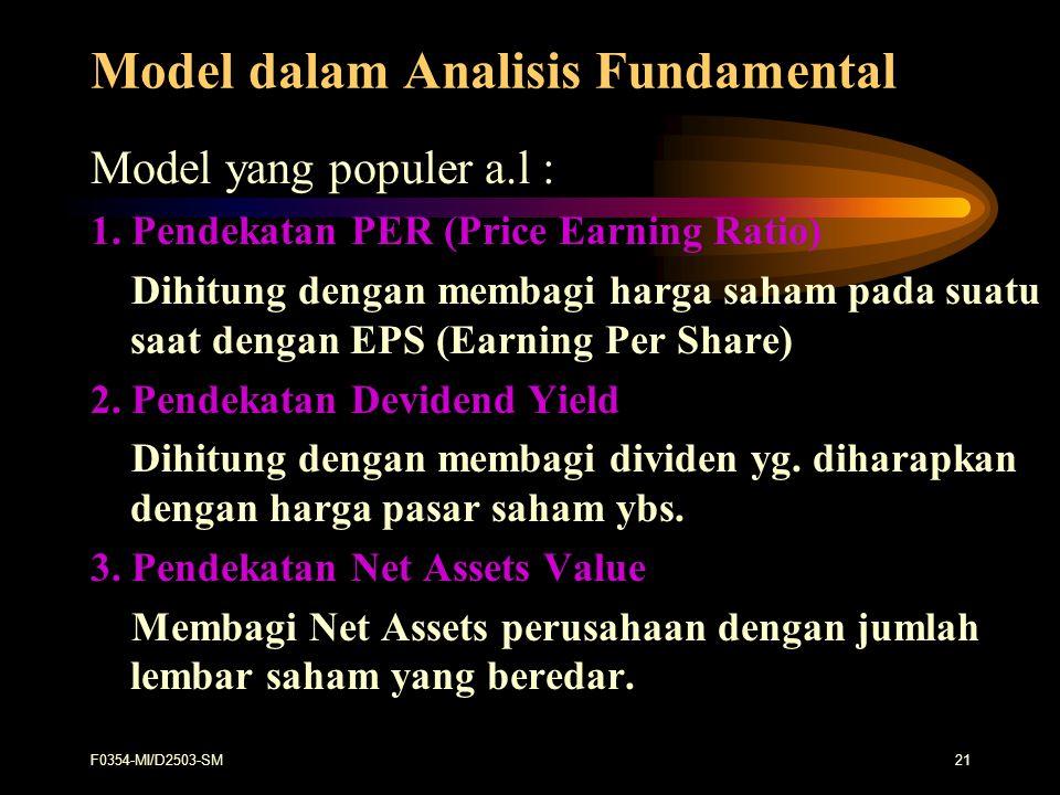 F0354-MI/D2503-SM21 Model dalam Analisis Fundamental Model yang populer a.l : 1. Pendekatan PER (Price Earning Ratio) Dihitung dengan membagi harga sa