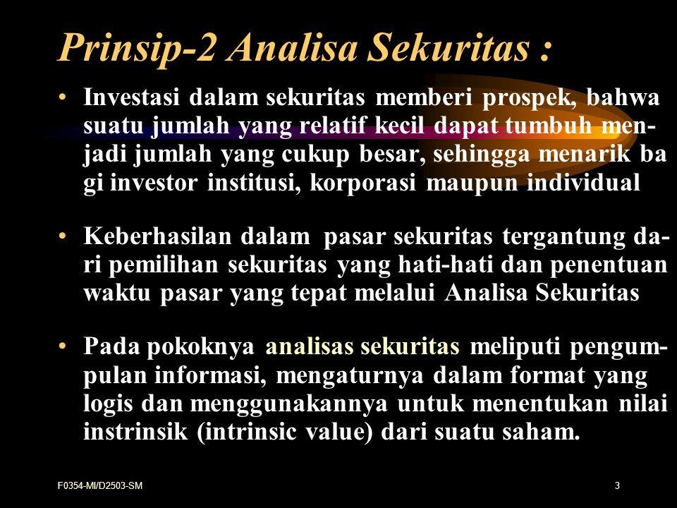 F0354-MI/D2503-SM24 ANALISA TEHNIKAL Adalah analisis pasar/sekuritas yang memu - satkan perhatian pada indeks saham, harga atau statistik pasar lainnya dalam menemu - kan pola yg.