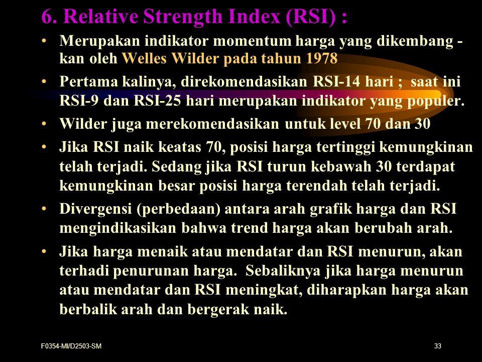 F0354-MI/D2503-SM33 6. Relative Strength Index (RSI) : Merupakan indikator momentum harga yang dikembang - kan oleh Welles Wilder pada tahun 1978 Pert