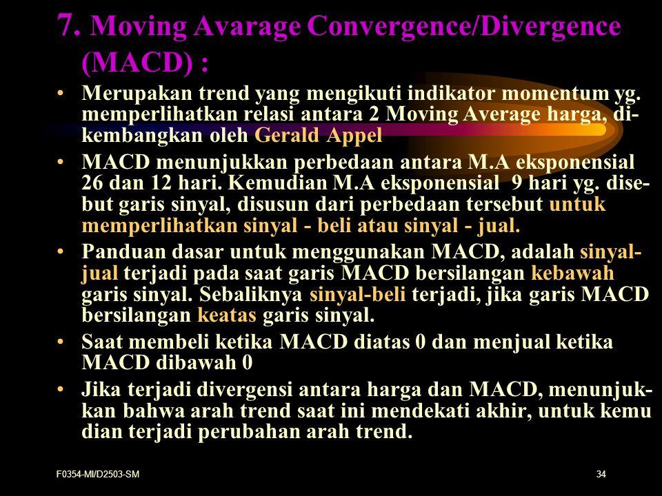 F0354-MI/D2503-SM34 7. Moving Avarage Convergence/Divergence (MACD) : Merupakan trend yang mengikuti indikator momentum yg. memperlihatkan relasi anta