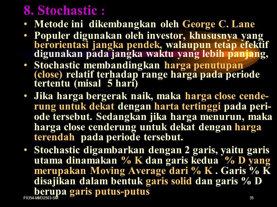 F0354-MI/D2503-SM35 8. Stochastic : Metode ini dikembangkan oleh George C. Lane Populer digunakan oleh investor, khususnya yang berorientasi jangka pe